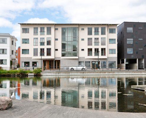 Rodergatan, centralt i Västra Hamnen, Malmö. Här hyr Företagsbostäder AB 34 business apartments.